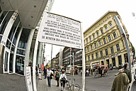 Germany, Berlin, Board at the Checkpoint Charlie, (fish eye view) - 00365DH-U