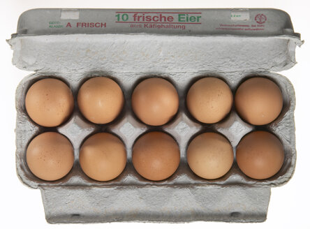 Eggs in box, elevated view - THF00950
