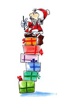Illustration, Santa Claus with drums sitting on stack of Christmas parcels - KTF00015
