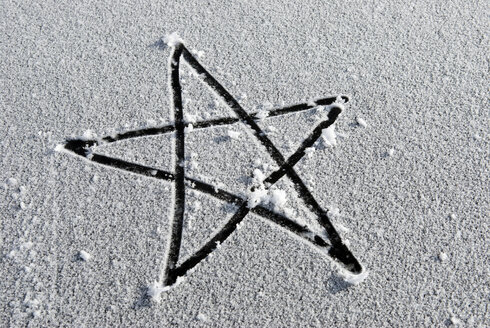 A Star drawn into snow, elevated view - AWDF00268