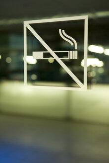 No smoking sign on glass pane, close-up - AWDF00138