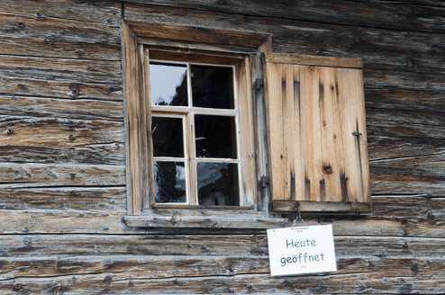 Switzerland, Arosa, Frame house with sign, Opened - AWDF00102