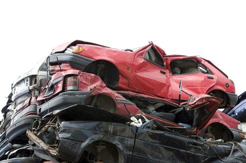 Scrapyard, Stack of crushed cars - AWD00330