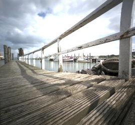 Germany, North Sea, Amrum, Port with boardwalk - AWD00303