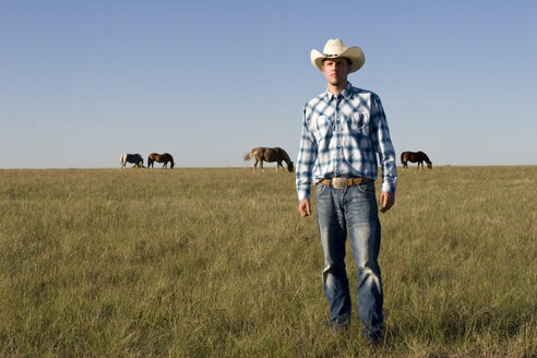 USA, Texas, Dallas, Cowboy standing on pasture - PK00250
