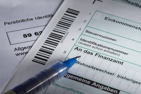 German tax return form, close-up - THF01007