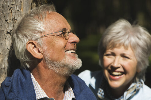 Austria, Karwendel, Senior couple smiling, portrait - WESTF10544