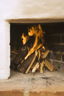 Log fire, close-up - WESTF10424