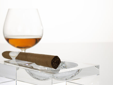 Cigar in ashtray with glass of cognac, close-up - AKF00076