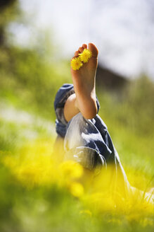 Person relaxing in meadow, dandelion flowers between toes - WWF00420