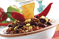 Chili con Carne with Tortilla chip on plate - 10262CS-U