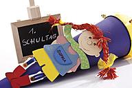 Colourful school cone next to chalkboard, close up - 10821CS-U