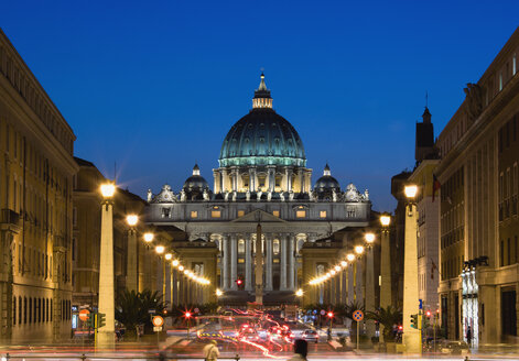 Italy, Rome, Vatican City, Traffic at night, Basilica of Saint Peter in background - PSF00127