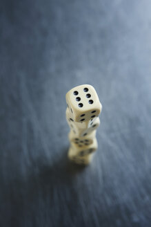 Stacked dice, elevated view, close-up - KSW00531