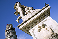 Italy, Tuscany, Pisa, Piazza dei Miracoli, Square of Miracles, Leaning Tower, Statue in foreground - PSF00260