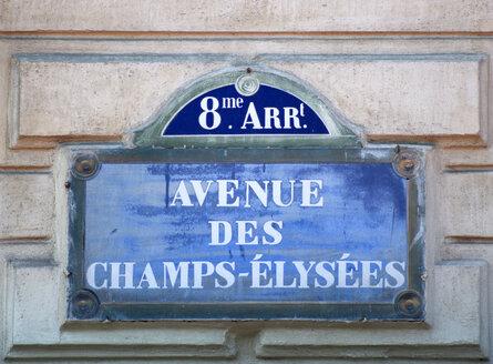 France, Paris, road sign, Avenue des Champs Elysees, close up - PSF00200