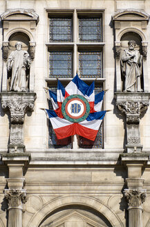 France, Paris, Town Hall, Facade with National Ensigns - PSF00197