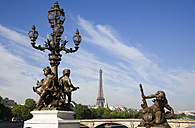 France, Paris, Pont Alexandre III, Bronze statues, Eiffel Tower in background - PSF00191