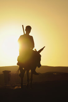 Egypt, Man sitting on donkey at sunset - GNF01095