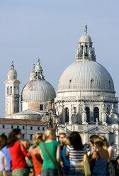 Italy, Venice, Church, Santa Maria della Salute, tourists in foreground - PSF00311