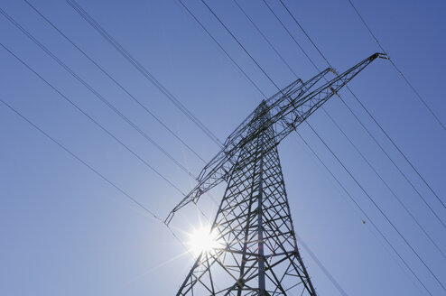 Germany, Bavaria,  Electricity pylon, low angle view - RUEF00261