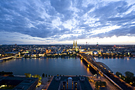 Germany, Cologne, Hohenzollern bridge and Cologne Cathedral, City view - WDF00533