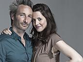 Couple, Woman embracing man, portrait - WEST12320