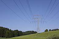 Germany, Bavaria, Power poles in landscape - WWF00983