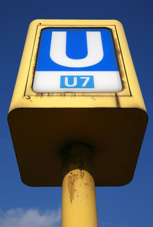 Germany, Berlin, Metro sign, low angle view - PSF00397