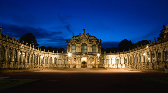 Germany, Saxony, Dresden, Zwinger Palace with Rampart Pavilion at night - PSF00373