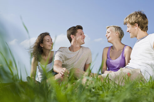 Germany, Bavaria, Young people sitting in meadow, smiling, portrait - LDF00805