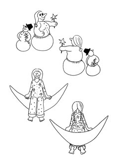 Illustration, Snowman and Snow woman and  girl sitting on  moon - KTF00030