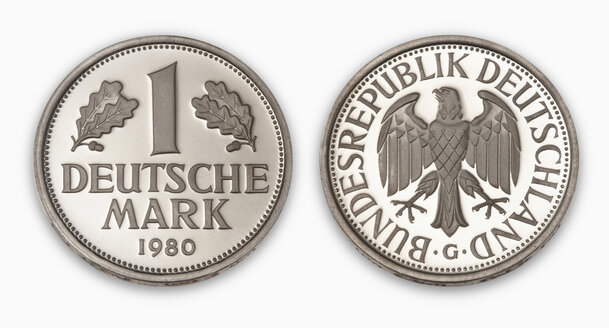 Deutschmark coin, close-up, elevated view - THF01089