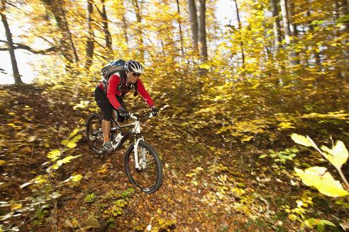 Germany, Bavaria, Woman mountain biking - FFF01094