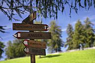 Italy, South Tyrol, Jenesien, Public footpath, signpost, close-up - SMF00528