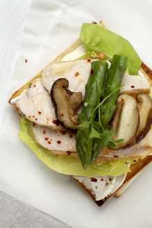 Chicken Sandwich with asparagus and mushrooms, elevated view - SCF00419