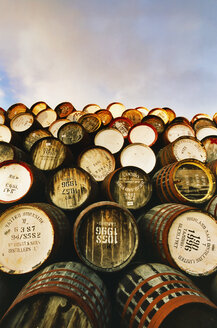 Great Britain, Scottland, Stack of Whiskey casks - MSF02330