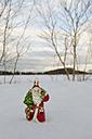 Santa claus figurine standing in snow, winter. - AWDF00488