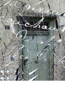 Collage, Italy, South Tyrol, House front, handwritings in foreground - AWD00449