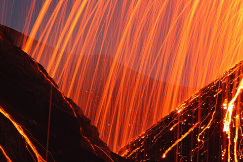 Italy, Sicily, Close up of Stromboli volcano erupting - RMF00366