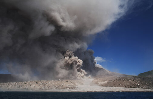 Plymouth, Montserrat, Caribbean, Pyroclastic flow from the eruption - RM00472