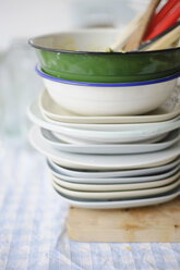 Stack of dirty dishes on table cloth - COF00117