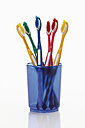 Toothbrushes in toothbrush holder on white background - 12297CS-U
