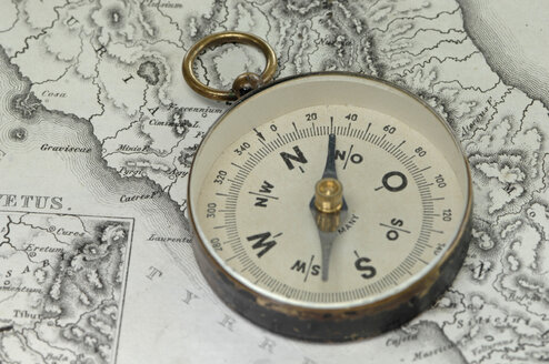 Compass on land map, close up - ASF04080