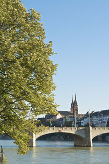 Switzerland, Basel, bridge over Rhine river with Basel Cathedral in background - LFF000195
