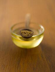 Mustard seeds in wooden spoon on bowl of oil - KSWF000565
