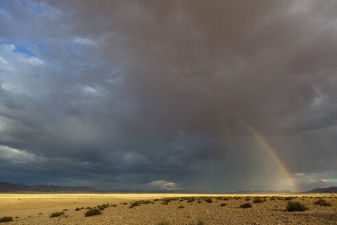 Africa, Namibia, Namib Desert, View of rainbow over Namib-Naukluft National Park - FOF002351