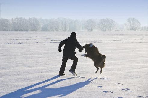 Germany, Vechelde, Boy playing with australian shepherd in snow - HKF000357