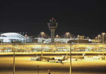 Germany, Munich, View of munich airport at night - WBF000107