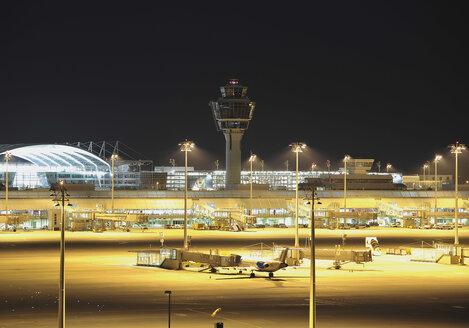 Germany, Munich, View of munich airport at night - WBF000107